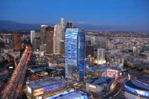 Aerial shot of downtown LA